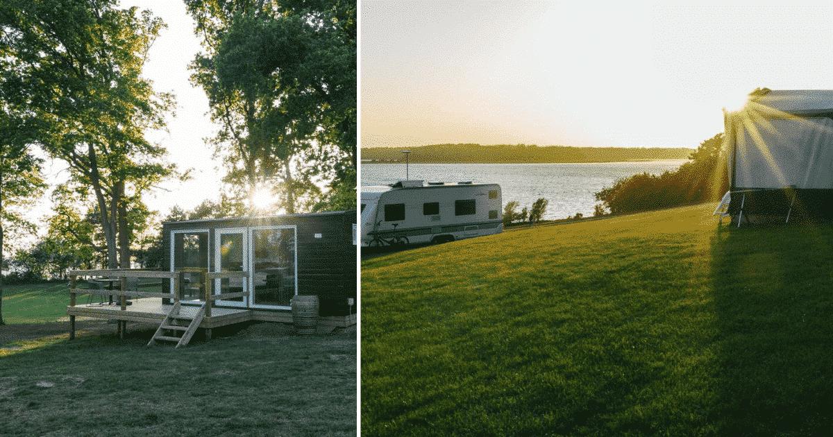 Roskilde camping - solnedgang, campingvogn og helt nye træhytter